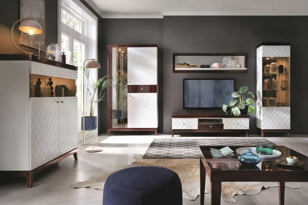 TARANKO Via obývacia izba biely mat / mahagón vysoký lesk