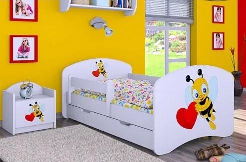 MAXMAX Detská posteľ so zásuvkou 140x70 VČELIČKA A SRDIEČKO 140x70 pre dievča ÁNO