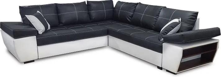 TEMPO KONDELA Univerzálna sedacia súprava, ekokoža čierna/biela, TIVOLI