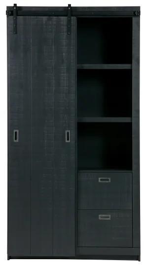 Slide skriňa s posuvnými dverami čierna