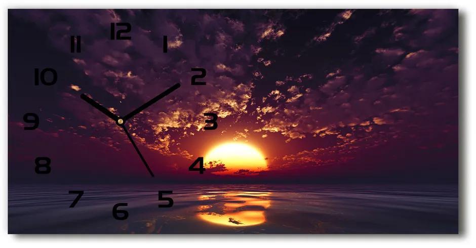 Sklenené hodiny na stenu tiché Západ slnka pl_zsp_60x30_f_75562875