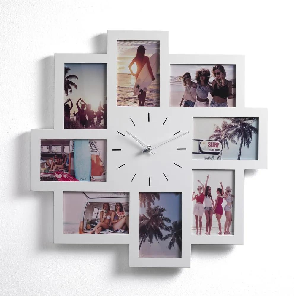 Nástenný fotorámik na 8 fotografií s hodinami Tomasucci Olly