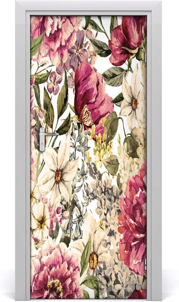 Samolepící fototapeta na dveře Květinový vzor