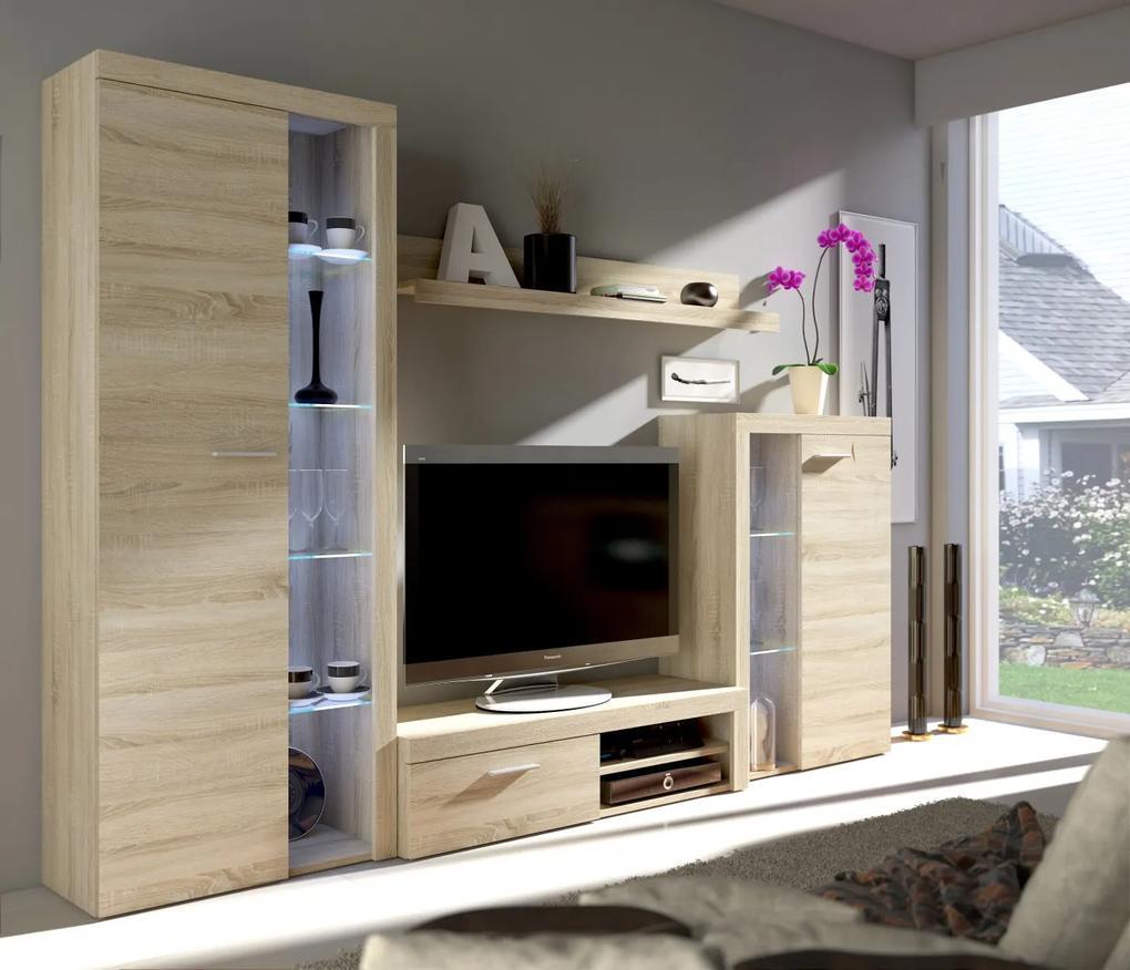 Veľká moderná obývacia stena s LED osvetlením model Pires