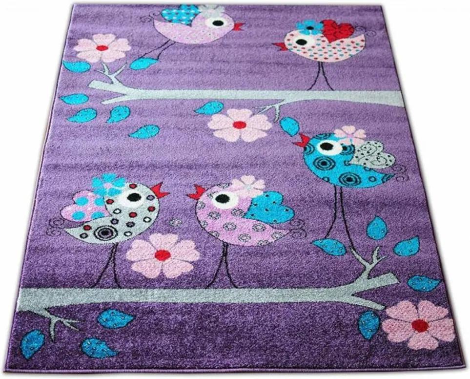 Detský koberec Vtáky fialový, Velikosti 100x200cm