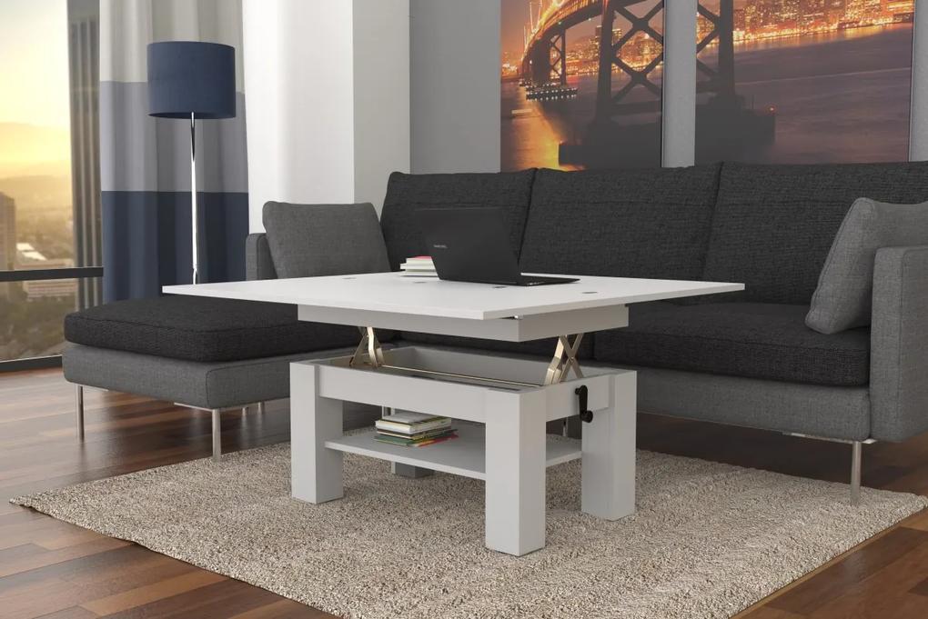 BRAVO biely - rozkladací, zdvíhací, konferenčný stolík s poličkou
