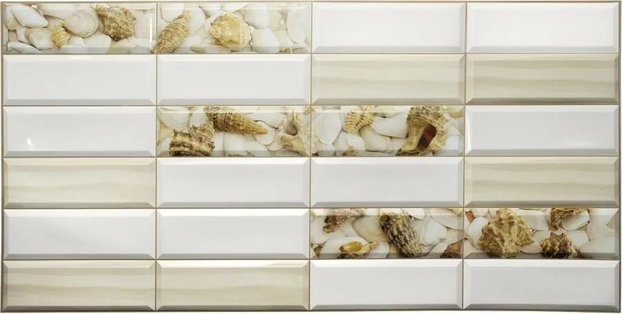 Obkladové 3D PVC panely TP10014005, rozmer 955 x 480 mm, obklad biely s mušľami, GRACE