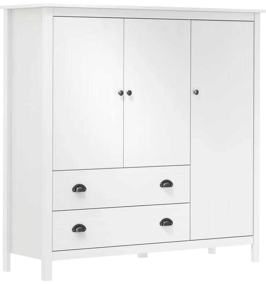 vidaXL 3-dverový šatník Hill Range biely 142x45x137 cm borovicový masív