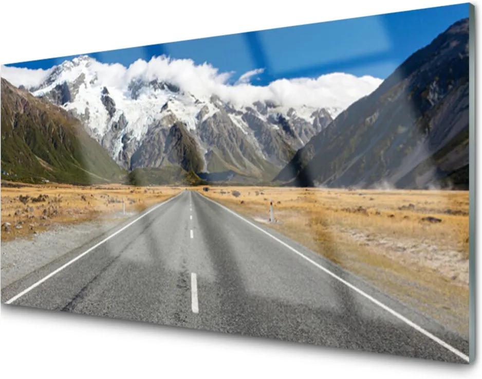 Obraz na skle Cesta hory sníh krajina