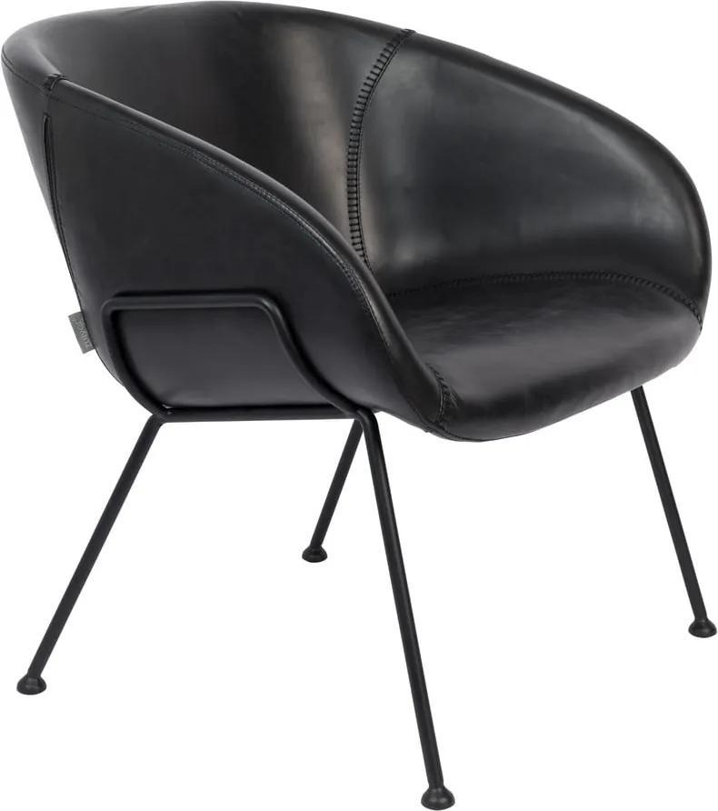 Čierne kreslo z umelej kože Zuiver Feston