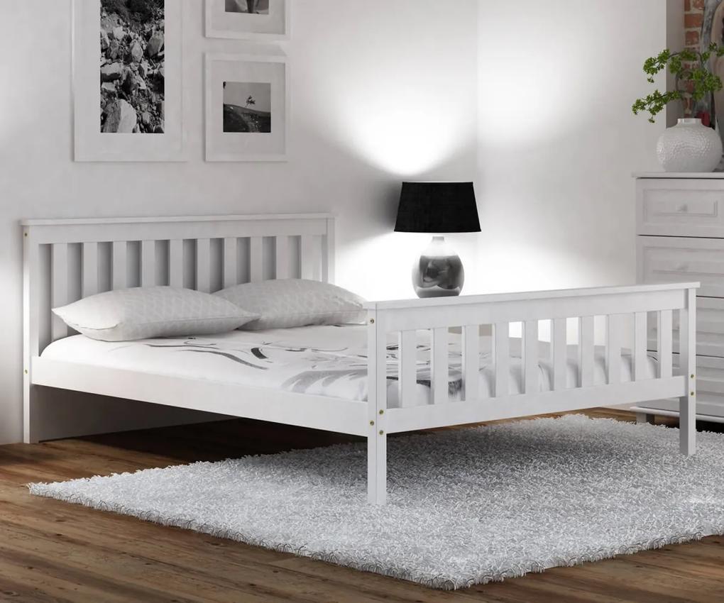 AMI nábytok Bílá dřevěná borovice postel Naxter 90x200