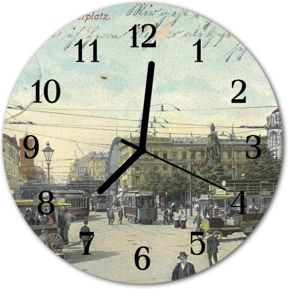 Nástenné skleněné hodiny Retro pohlednice