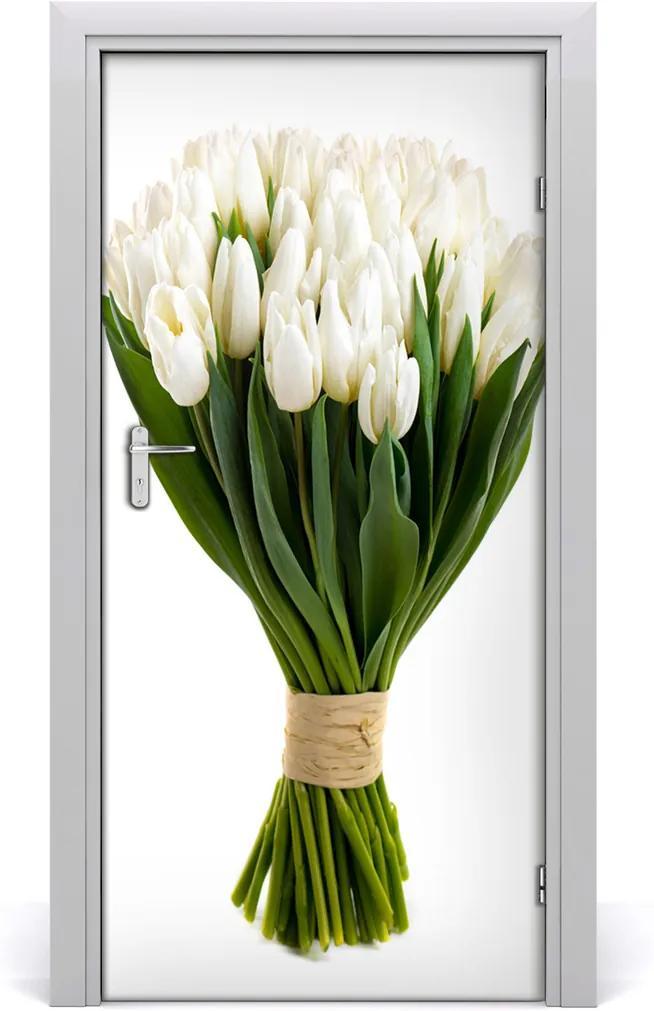 Fototapeta na dveře Bílé tulipány