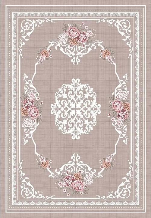 TEMPO KONDELA Sedef koberec 180x270 cm svetlohnedý / vzor kvety