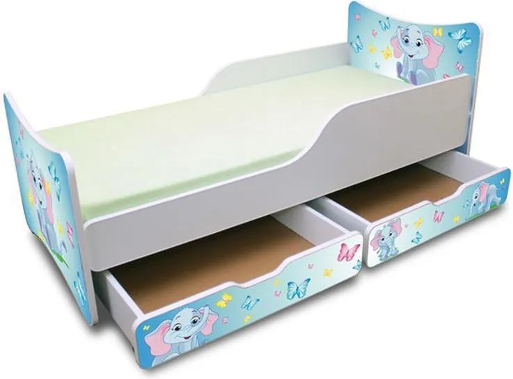 MAXMAX Detská posteľ so zásuvkou 180x90 cm - sloník 180x90 pre všetkých ÁNO