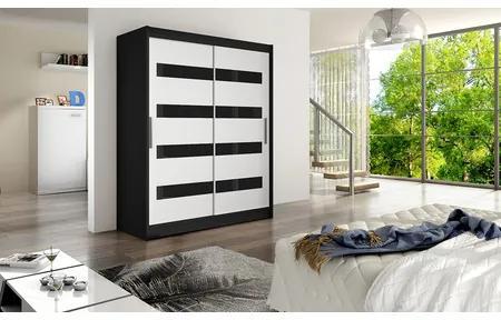 Veľká šatníková skriňa WESTA IV čierna/biela šírka 150 cm