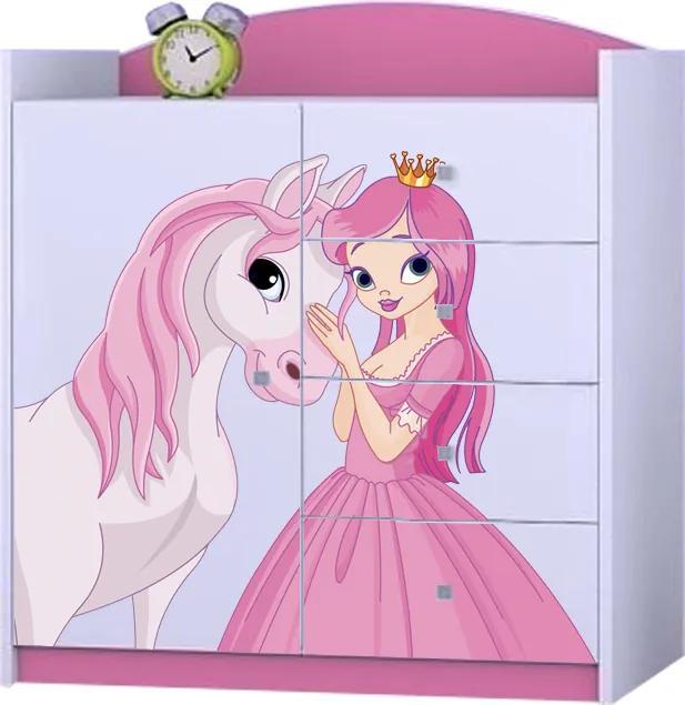 OR Komoda Mery ružová K08 - viac variantov Motív: I - Princezna s koníkom