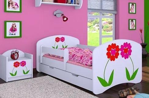 MAXMAX Detská posteľ so zásuvkou 180x90cm KVETINKY