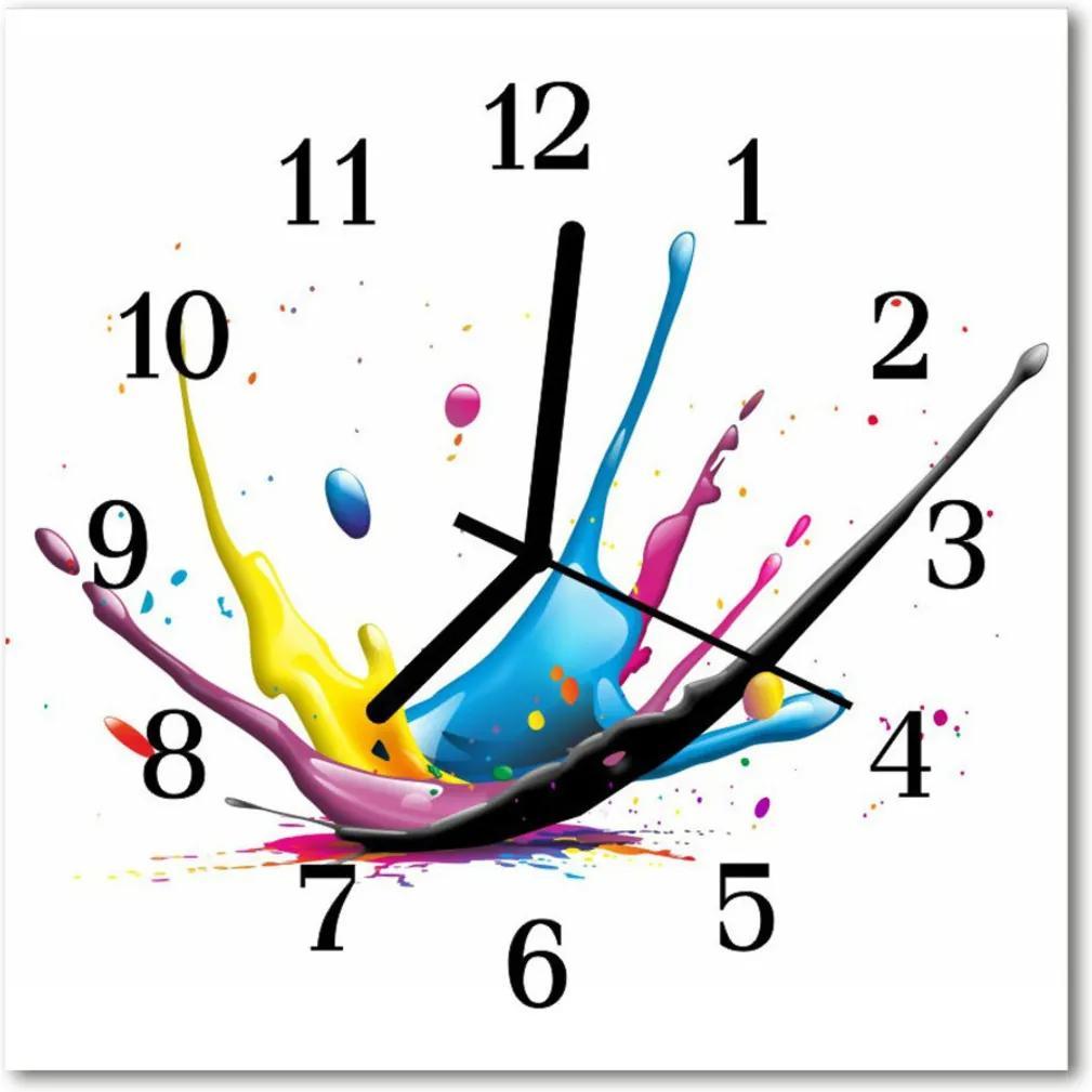 Nástenné skleněné hodiny barva