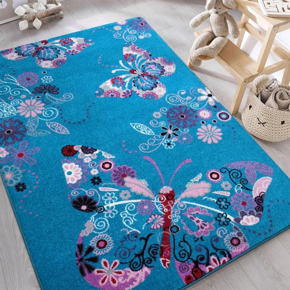 DY Detský tyrkysový koberec Motýliky - rôzne rozmery Rozmer: 100 x 200 cm