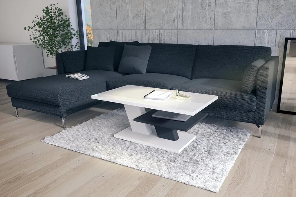 CLIFF biely lesk / antracit (tmavo šedá), konferenčný stolík