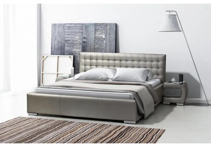 Dizajnové jednolôžko Natal s úložným priestorom šedá eko koža 140 x 200