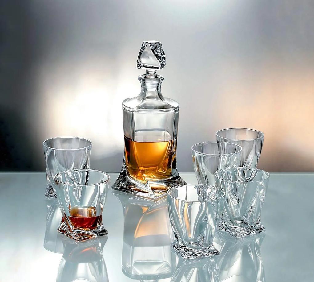 Crystalite Bohemia křišťáľový whisky set Quadro 1+6