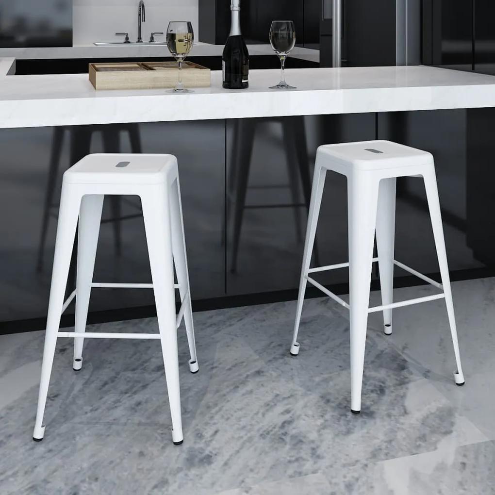 vidaXL Barové stoličky 2 ks, biele, oceľ