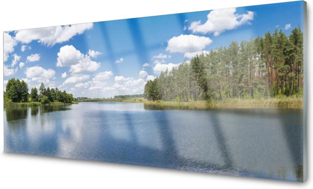 Skleněný obraz Jezero les krajina