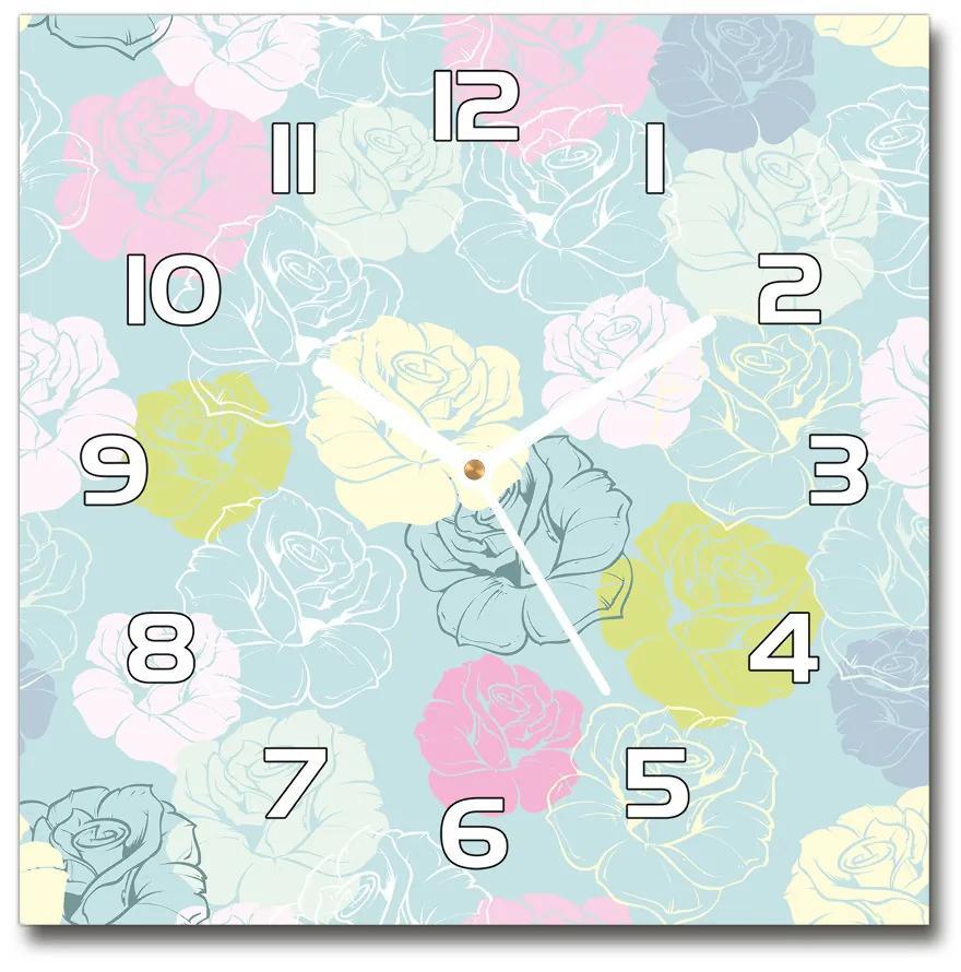 Sklenené nástenné hodiny štvorec Ruže pl_zsk_30x30_f_64906285