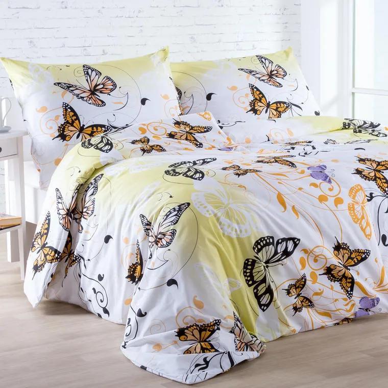 Bavlnené posteľné obliečky Butterfly žlté štandardná dĺžka