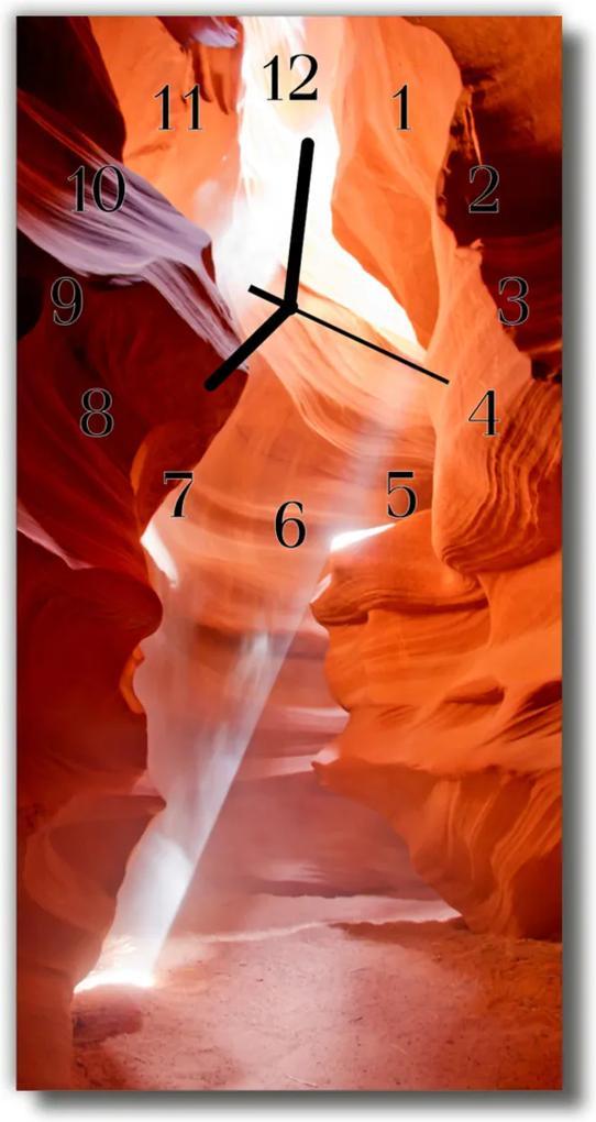 Skleněné hodiny vertikální Orange Canyon scenery