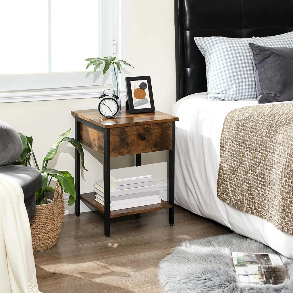VASAGLE Nočný stolík so zásuvkou industriálny 40 x 55 x 40 cm