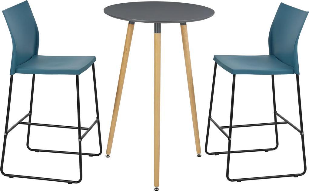 en.casa ® Okrúhly retro barový stôl + stoličky - 2 ks - tyrkysové ... 06aee14c0fa