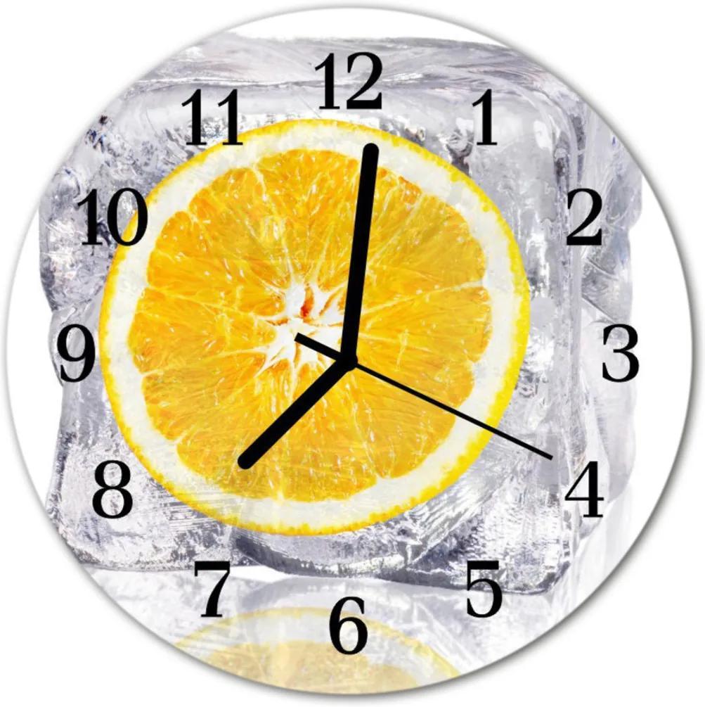 Nástenné skleněné hodiny Oranžová zmrzlina