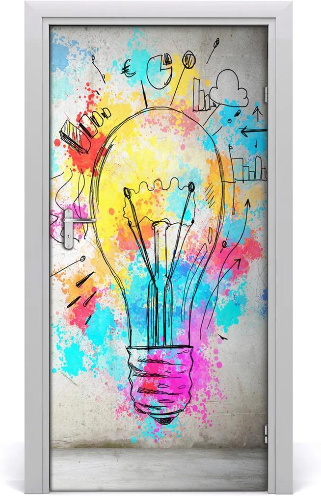 Samolepiace fototapety na dvere  farebná žiarovka