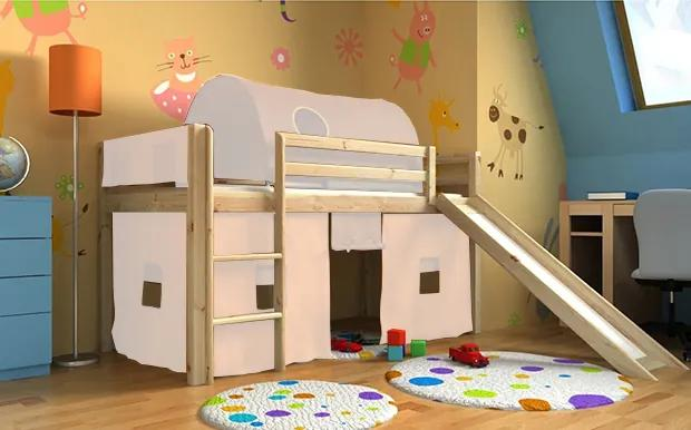 BM Vyvýšené detské postele so šmýkačkou Gabika borovica