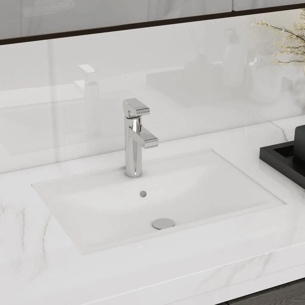 vidaXL Keramické umývadlo s prepadom a otvorom na batériu, biele, obdĺžnik