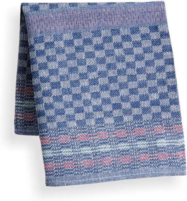 Škodák Pracovný bavlnený uterák vzor 001 keper modrá kocka s pásikmi - 50x90cm