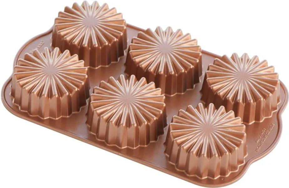 Forma na 6 minibáboviek v medenej farbe Nordic Ware Round, 700 ml