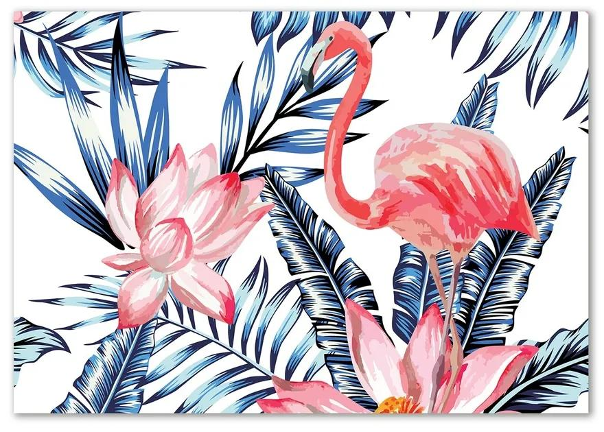 Foto obraz sklenený horizontálne Plameniaky a kvety pl-osh-100x70-f-83343113