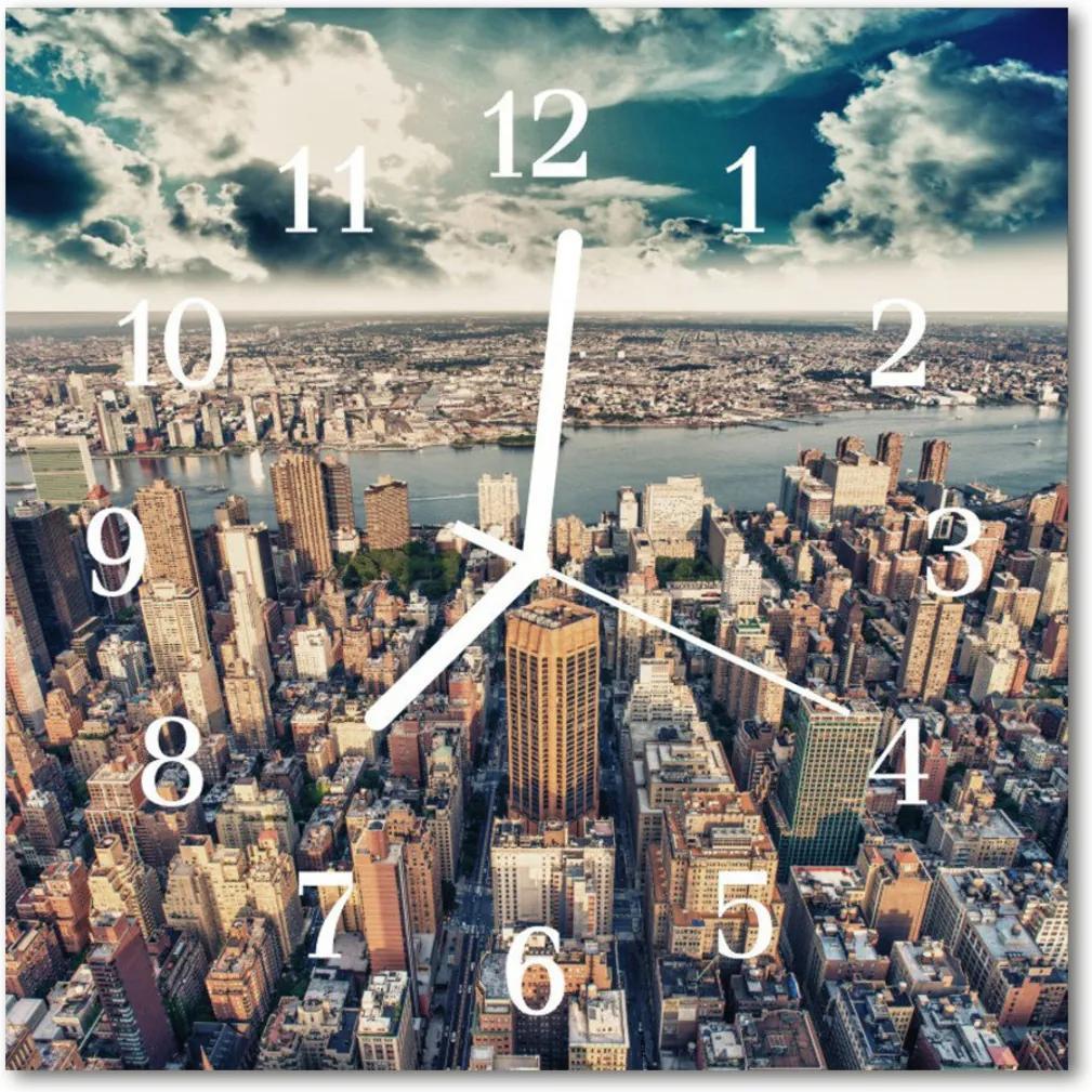 Nástenné skleněné hodiny New York
