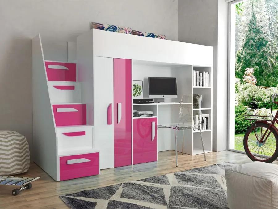 AD Multifunkčná poschodová posteľ Party 14 - ružová - výpredaj Farba: Ružová