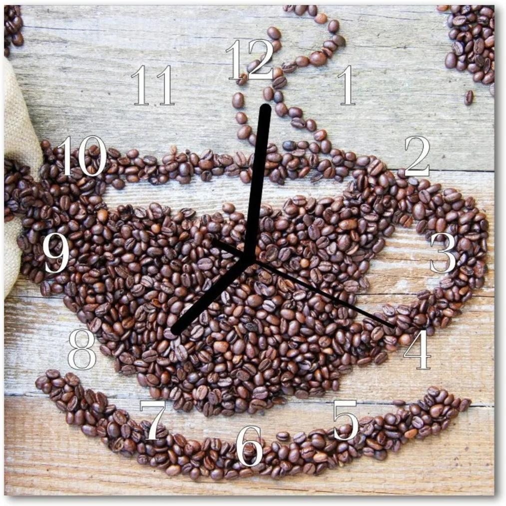 Nástenné sklenené hodiny  zrnková káva