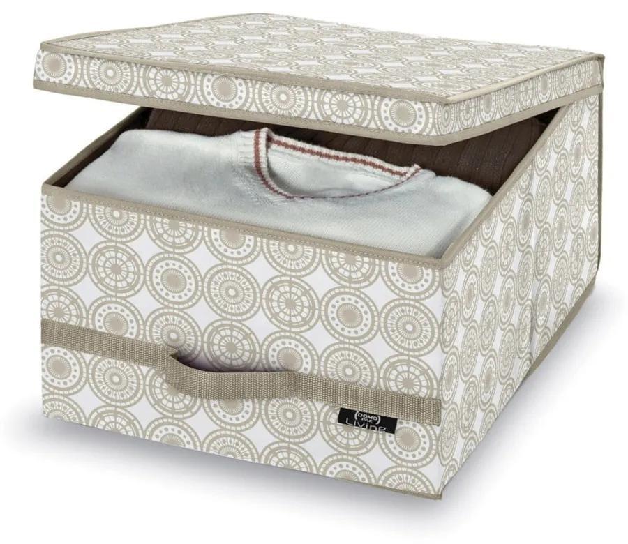 Béžový úložný box Domopak Ella, výška 24 cm