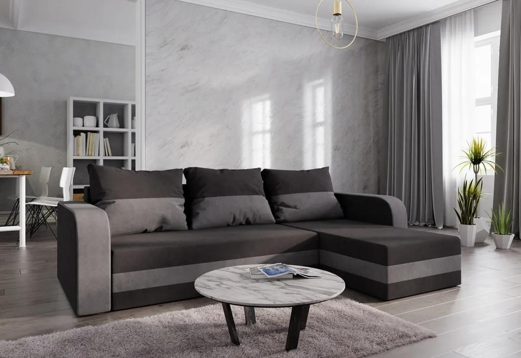 Rohová rozkladacia sedačka HEWLET, 235x72x140, čierna/sivá, mikrofáza04/10