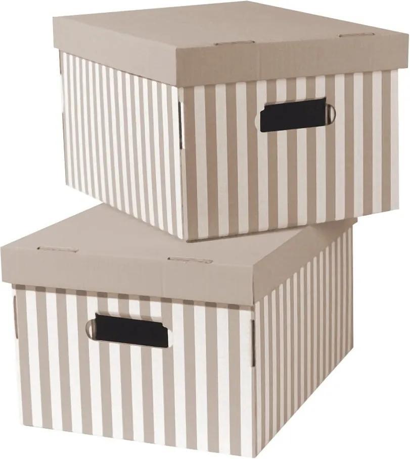 Sada 2 béžových úložných škatúľ Compactor Stripes