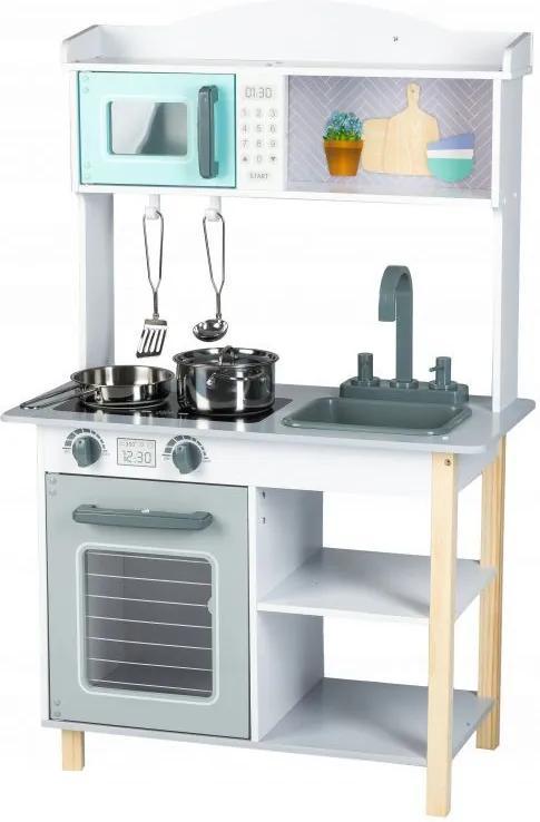 EcoToys Drevená kuchynka s príslušenstvom, šedá, 7256