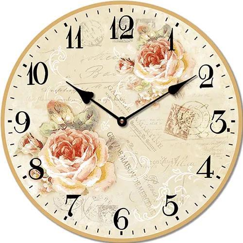 Isabelle Rose Drevené nástenné hodiny s motívom ruží a pečiatok 15 cm