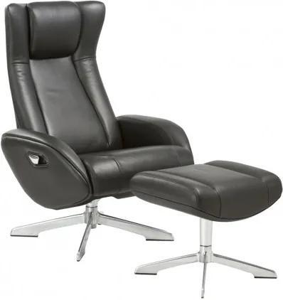 Lounge Chair RIGA s podnožkou, černá kůže House Nordic 1101072